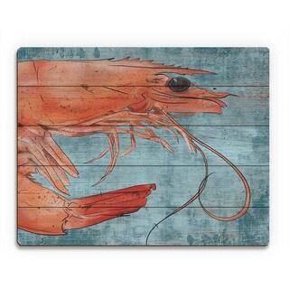 Big Shrimp on Blue Wall Art Print on Wood