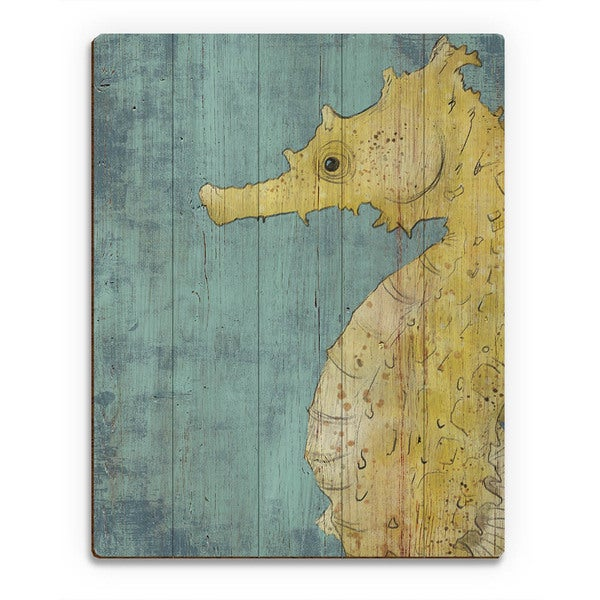 Big Seahorse in Yellow Wall Art Print on Wood