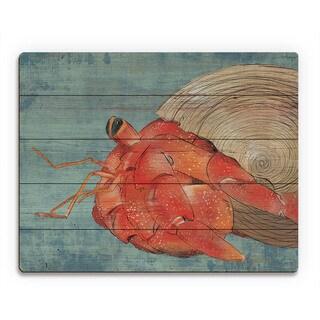 Big Hermit Crab on Blue Wall Art Print on Wood