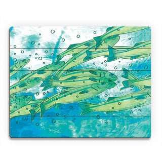 Fighting the Tide School of Fish Wall Art on Wood