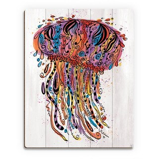 Colorful Wild Jellyfish Wall Art Print on Wood