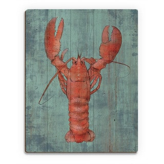 Lobster in Red Wall Art Print on Wood
