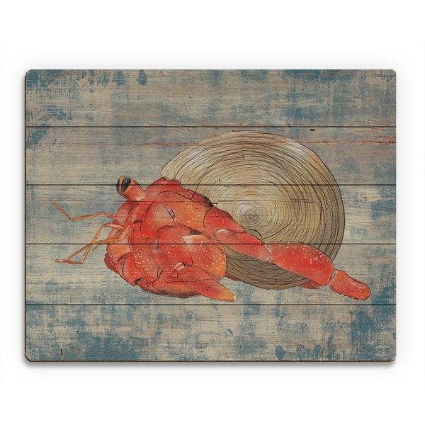 Hermit Crab on Blue Wall Art Print on Wood