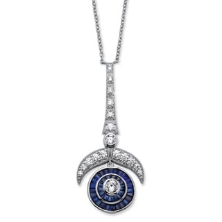 4.69 TCW Cubic Zirconia and Lab Created Sapphire Art Deco-Inspired Necklace Platinum-Plated Glam CZ