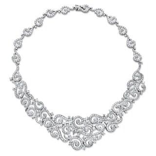 "18.65 TCW Round Cubic Zirconia Scroll Bib Necklace Platinum-Plated 18"" Glam CZ"