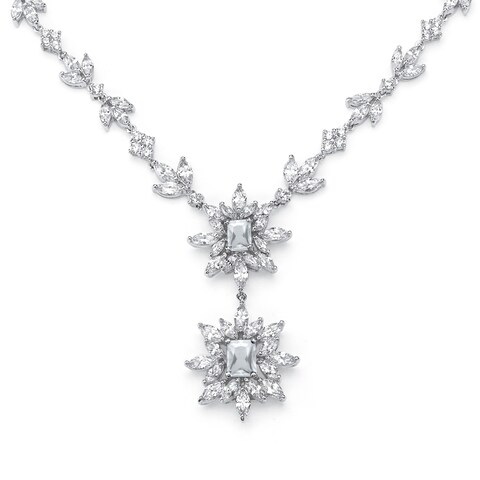"19.90 TCW Marquise and Emerald-Cut Cubic Zirconia Starburst Drop Necklace Platinum-Plated 16"" Glam C"