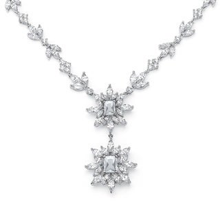 """19.90 TCW Marquise and Emerald-Cut Cubic Zirconia Starburst Drop Necklace Platinum-Plated 16"""" Glam C"""
