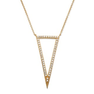 .72 TCW Pave Cubic Zirconia Triangle Pendant Necklace 14k Gold-Plated 18-20 Bold Fashion