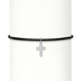 .17 TCW Cubic Zirconia Sterling Silver Cross Braided Black Rope Choker Necklace 13-14.5 Bold Fashi