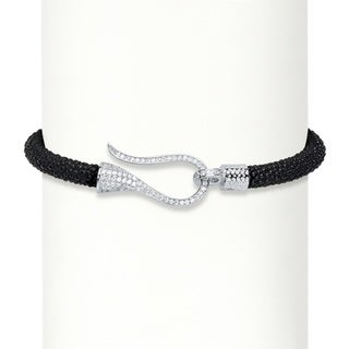 """Cubic Zirconia Sterling Silver Black Textured Rope Fish Hook Collar Necklace 16"""" (.38 cttw) Bold Fas"""