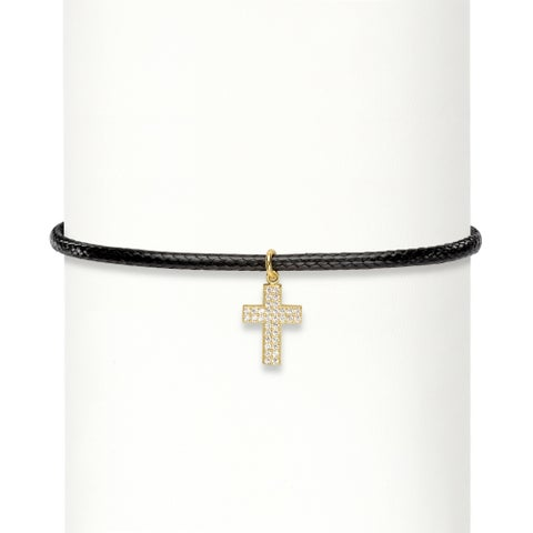 """.17 TCW Cubic Zirconia Cross Charm 14k Gold over Sterling Silver Braided Black Choker Necklace 13""""-1"""