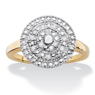 1/10 TCW Round White Diamond Pave-Style Concentric Circle Cluster Ring 14k Gold-Plated