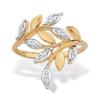 Diamond Accent Marquise-Shaped Bypass Leaf Ring in Solid 10k Yellow Gold