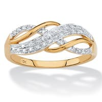 .12 TCW Round Diamond Solid 10k Yellow Gold Infinity Crossover Ring