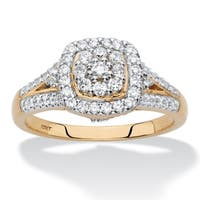 Diamond Halo Cushion-Shaped Engagement Ring 1/2 TCW in Solid 10k Yellow Gold