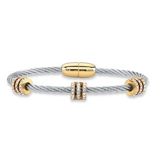 """Cubic Zirconia Silvertone and Gold Tone Beaded Magnetic Twisted Cable Bangle Bracelet 7"""" (.72 cttw)"""
