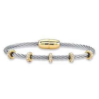 """Cubic Zirconia Gold Tone and Silvertone Beaded Station Twisted Cable Bangle Bracelet 7"""" (1.19 cttw)"""