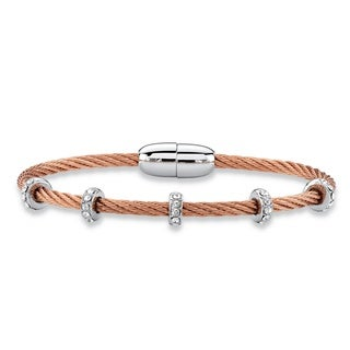"Cubic Zirconia Silvertone and Rose Gold Tone Magnetic Twisted Cable Bangle Bracelet 7"" (1.19 cttw) B"