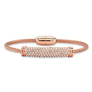 """Round Cubic Zirconia Rose Gold Tone Barrel Bead Twisted Cable Bangle Bracelet 7"""" (1.08 cttw) Bold Fa"""
