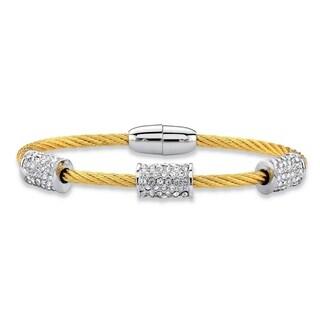 """Gold Tone Bangle Bracelet (8mm), Round Cubic Zirconia, 7"""""""