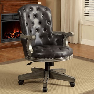 Furniture of America Baletta Traditional Tufted Leatherette Caster Adjustable Grey Arm Chair