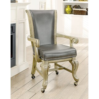Furniture of America Frankline Traditional Leatherette Caster Wheel Arm Chair