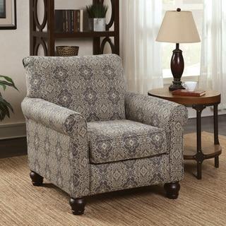 Furniture of America Corrington Casual Damask Print Fabric Multi-color Accent Chair