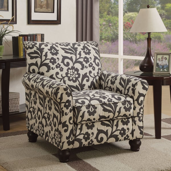 Furniture Of America Corrington Casual Floral Print Fabric Grey And Ivory  Accent Chair