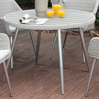 Furniture of America Sunni Contemporary Plank Style Aluminum Grey Outdoor Round Dining Table