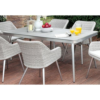 Furniture of America Sunni Contemporary Plank Style Aluminum Silver Outdoor Dining Table