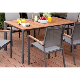 Furniture of America Reyna Contemporary Two-Tone Aluminum Oak/Grey Outdoor Dining Table