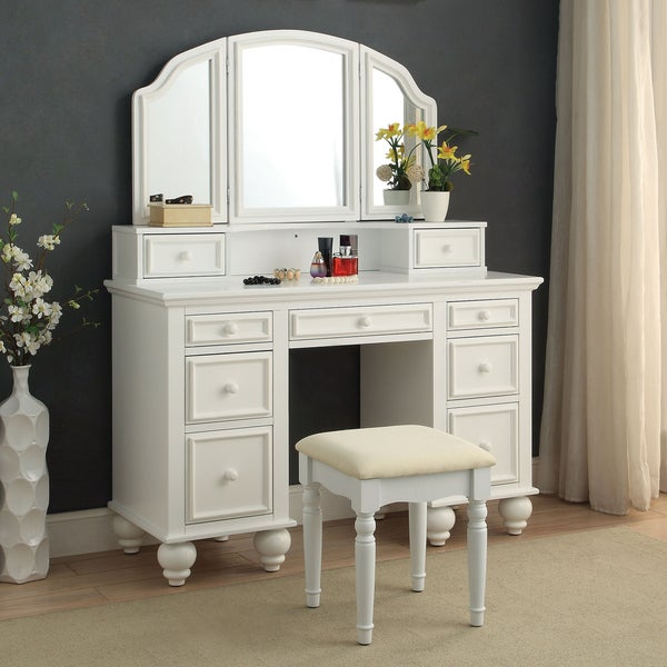 Shop Furniture Of America Shianne Contemporary 2 Piece Multi Drawer Vanity Table Set On Sale