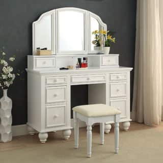furniture of america shianne contemporary 2 piece multi drawer vanity table set - Glam Bedroom Furniture