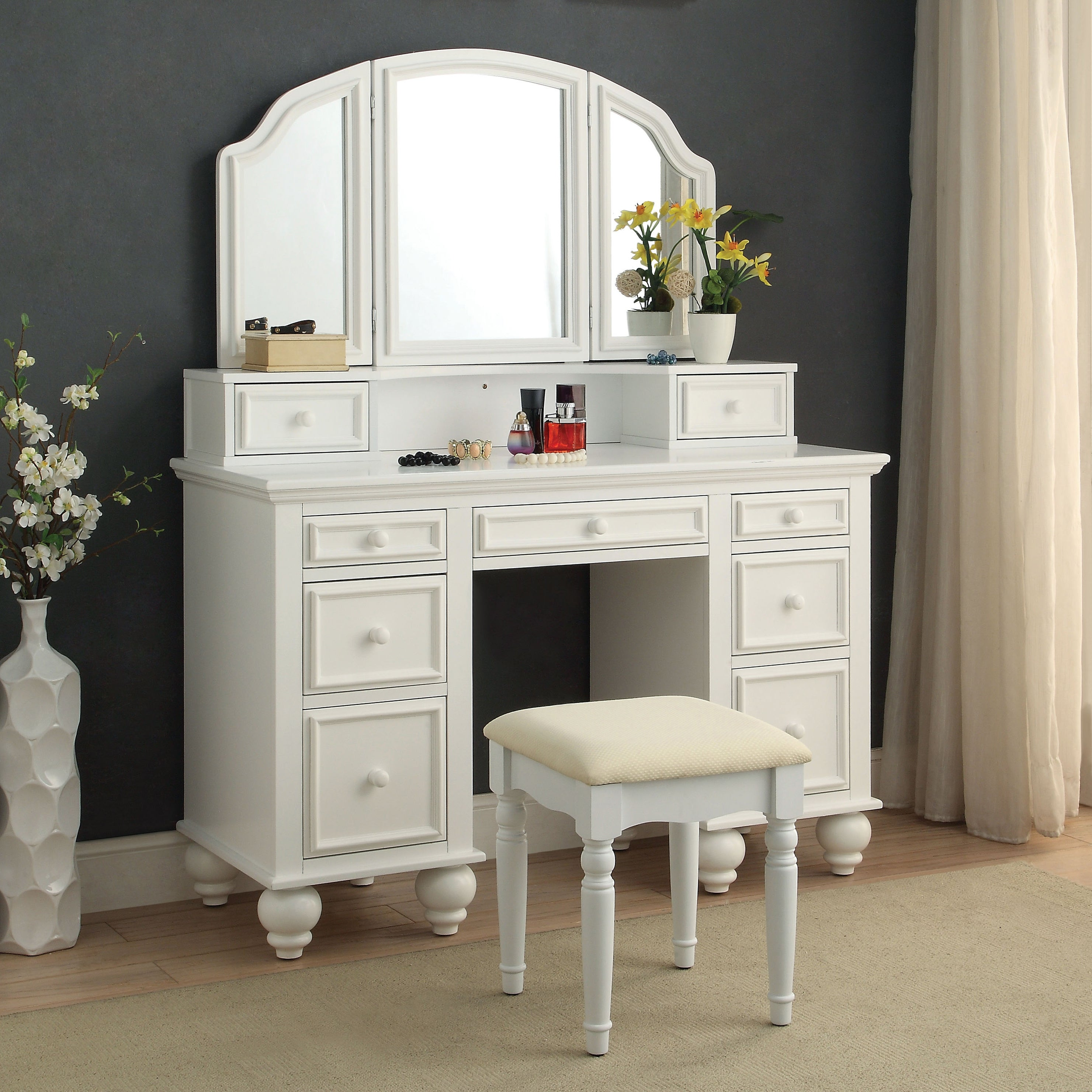 newest collection a9606 5be09 Shianne Contemporary 2-Piece Vanity Table Set by FOA