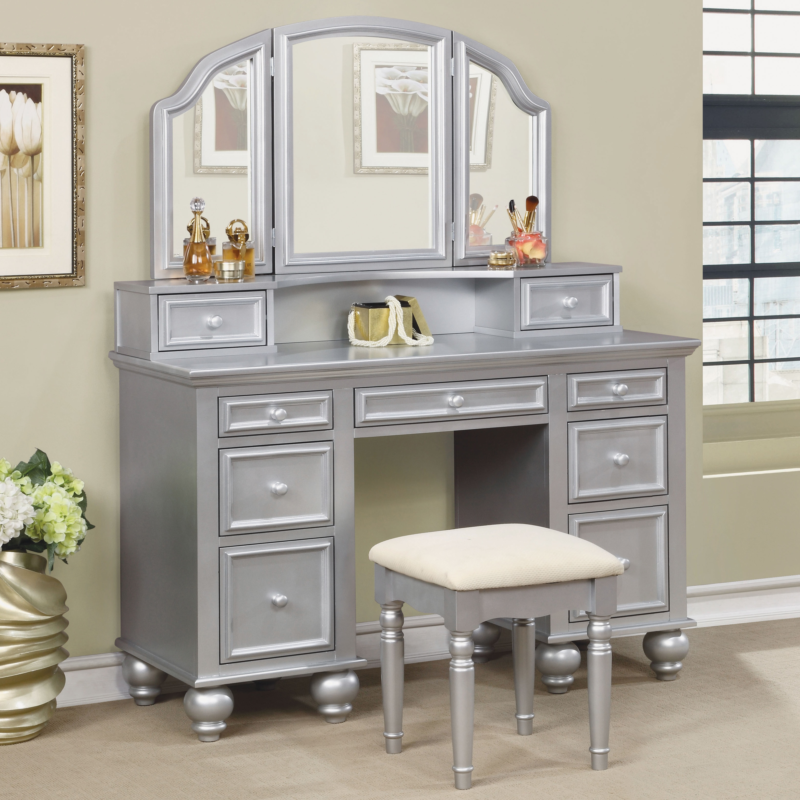 Wondrous Shianne Contemporary 2 Piece Vanity Table Set By Foa Gmtry Best Dining Table And Chair Ideas Images Gmtryco