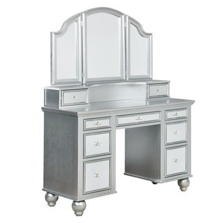 Furniture of America Nena Contemporary 2-piece Mirrored Multi-drawer Vanity Table Set