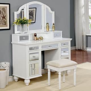Makeup Furniture White Wood Vanity Stool Makeup Vanity Bedroom ...