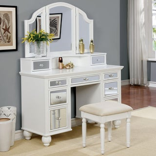 Charmant Furniture Of America Nena Contemporary 2 Piece Mirrored Multi Drawer Vanity  Table Set