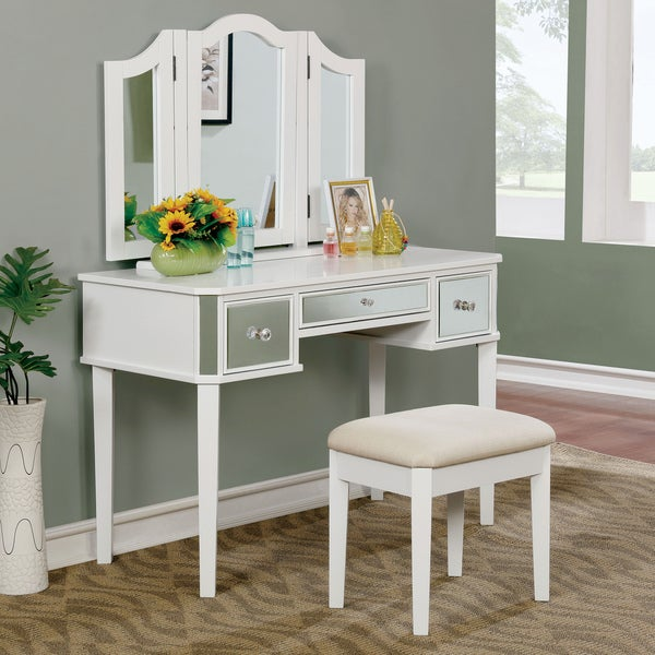 Furniture Of America Corali Contemporary 2 Piece Mirrored Multi Drawer  Vanity Table Set