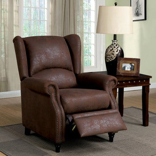 Furniture of America Weona Classic Brown Fabric Wingback Push Back Recliner
