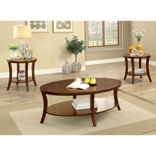 Furniture of America Kola Cherry Solid Wood 3-piece Accent Table Set