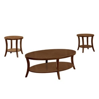 Furniture of America Kola 3-piece Open Shelf Brown Cherry Accent Table Set