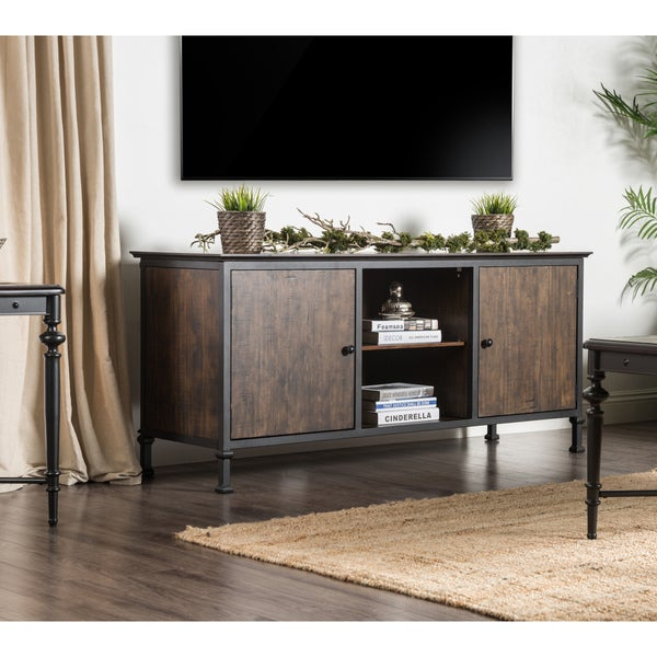 Furniture Of America Henal Rustic Multi Storage Medium Weathered Oak 60 Inch Tv Stand