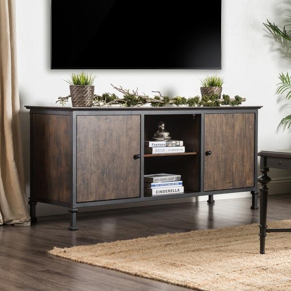 Henal Rustic 60-inch Medium Weathered Oak TV Stand by FOA