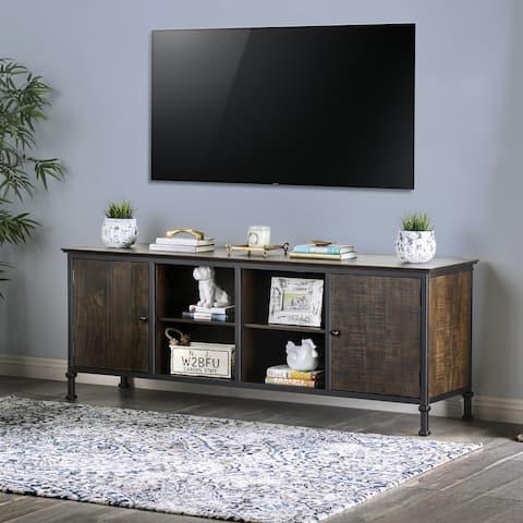 Furniture of America Dele Rustic 72-inch Oak 2-cabinet TV Stand