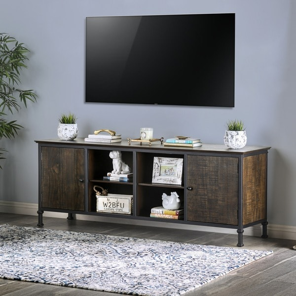 Furniture of America Dele Rustic 72-inch Oak 2-cabinet TV Stand. Opens flyout.