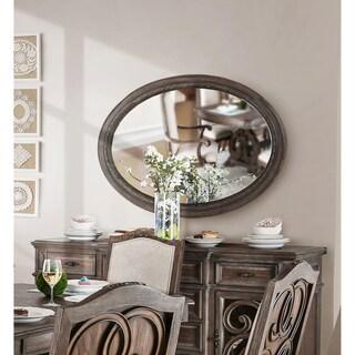 Furniture of America Dianne Rustic Natural Tone Oval Mirror