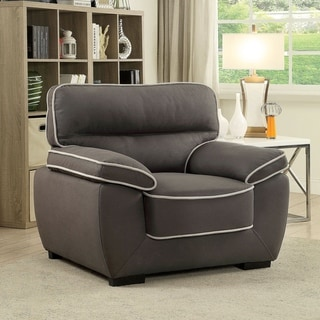 Furniture of America Kelvin Contemporary Faux Nubuck Fabric Graphite Chair