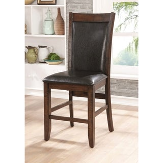Furniture of America Fete Rustic Cherry Faux Leather Counter Chair