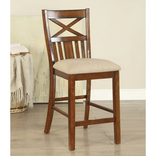 Furniture of America Stevan Country Style Slatted X-Back Brown Cherry Counter Height Chair